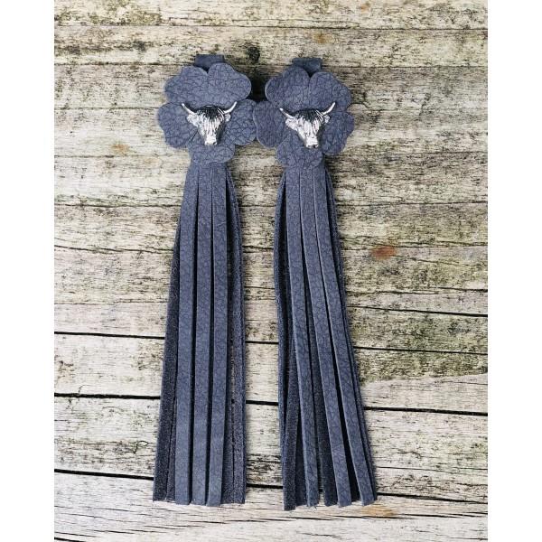 Tassel Envy Flower Tassels - Charcoal Leather