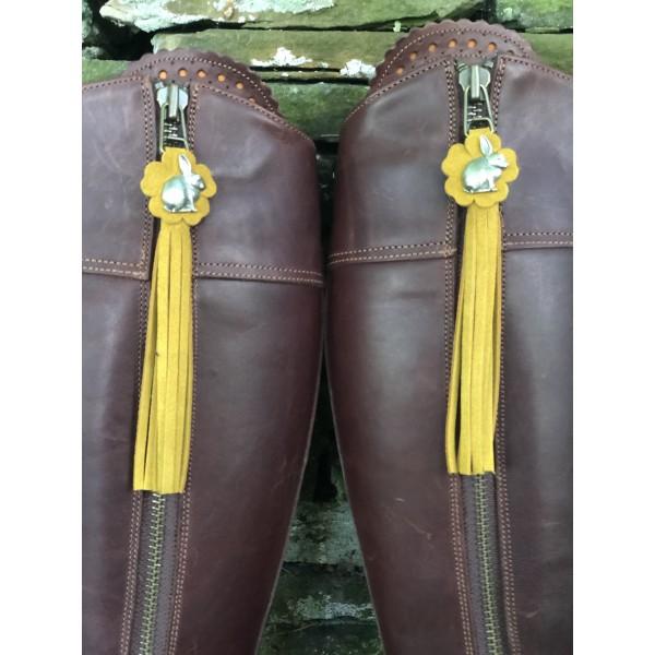 Tassel Envy Flower Tassels - Yellow Mustard Suede