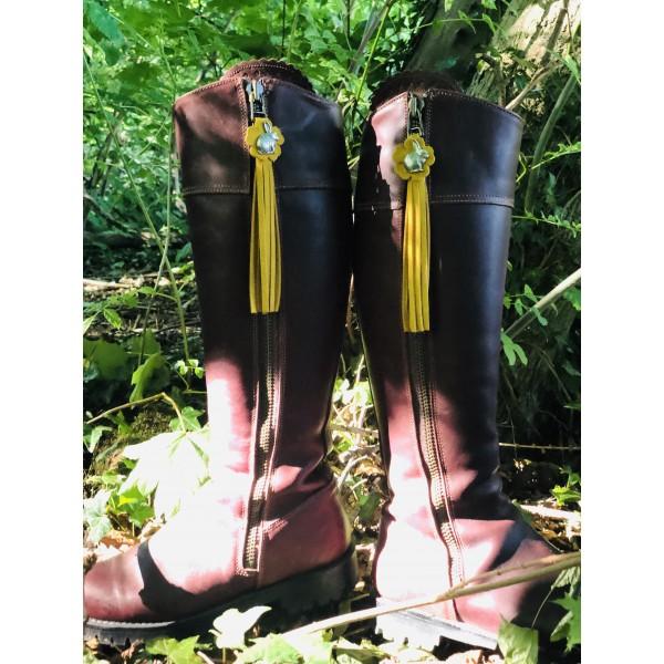 Tassel Envy Flower Tassels - Mustard Suede