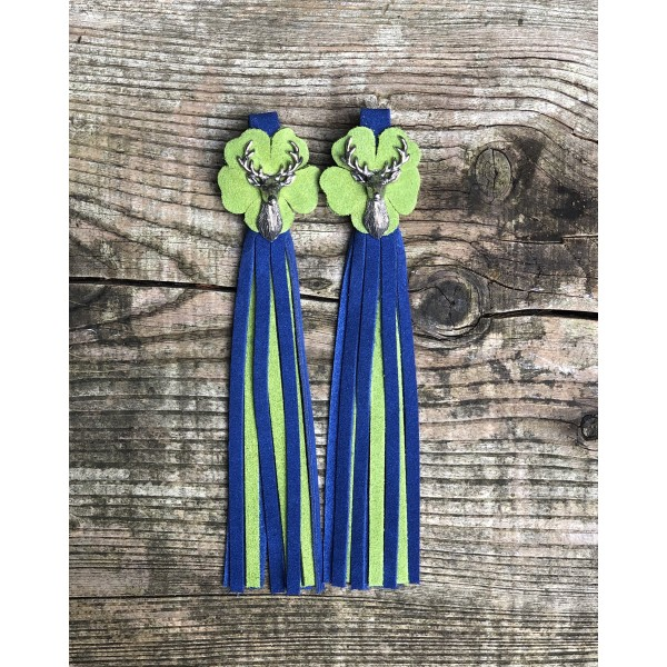 Tassel Envy Flower Tassels - Blue Suede with Green Flower & Green Colour Panel
