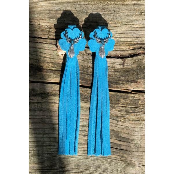 Tassel Envy Flower Tassels - Turquoise Suede