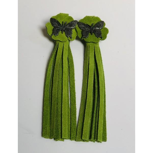 Tassel Envy Flower Tassels - Green Suede
