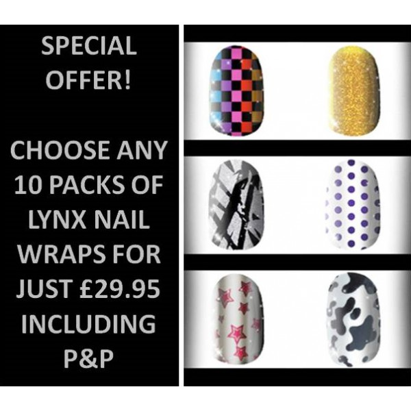 10 Packs of Lynx Nail Wraps - Any Design